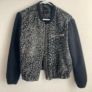 Maison Scotch Leopard Print Wool Blend bomber